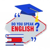Bright flat banner for English language learning