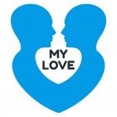 Minimalistic love logo with homosexual couple of men profile