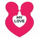 Minimalistic love logo with homosexual couple of women profile