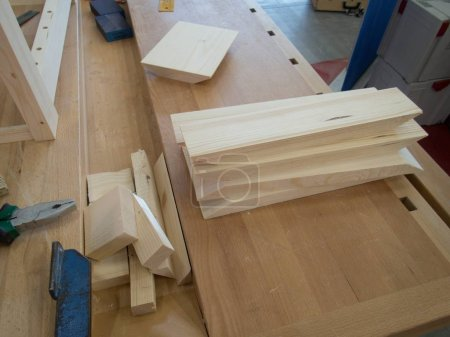 a cerpenter workshop with tools and wood