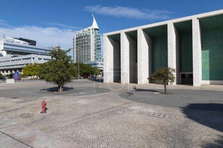 Photo pour Lisbonne, Portugal - 20 octobre 2018: Vue le pavillon du Portugal (Pavilhao de Portugal) au parc des Nations, dans la ville de Lisbonne, au Portugal - image libre de droit