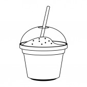 Yogurth cup with straw in black and white
