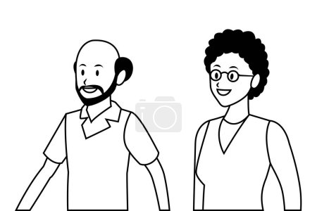 Photo for Old couple portrait avatar bald beard and glasses - Royalty Free Image