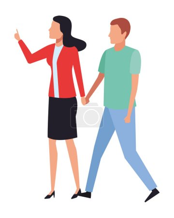 Photo for Couple hands holding avatar vector illustration graphic design - Royalty Free Image