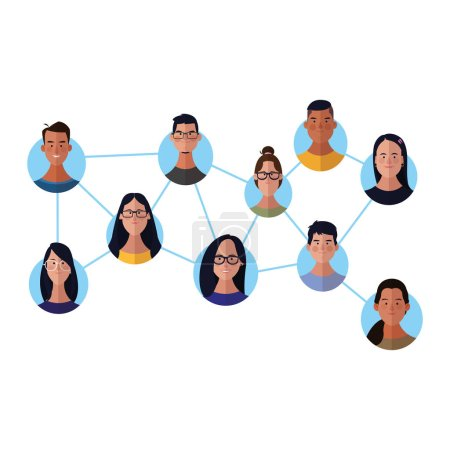 People network face cartoons round icons vector il...