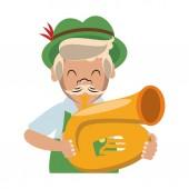 Bavarian man with music instrument