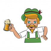 Bavarian man holding beer cup