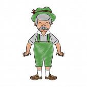Bavarian man cartoon scribble