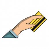 Hand with credit card cartoon