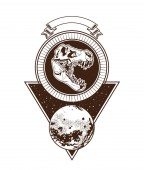 Rock and roll vintage emblem with drawings