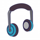 Music headphones techonlogy device isolated blue lines