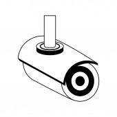 Surveillance camera techonlogy device isolated in black and white