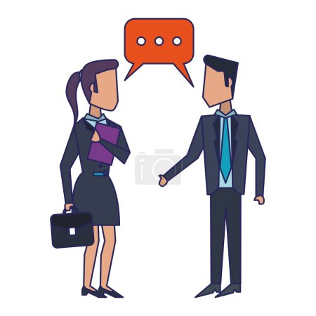 Illustration for Businessman and businesswoman with briefcases avatar vector illustration graphic design - Royalty Free Image