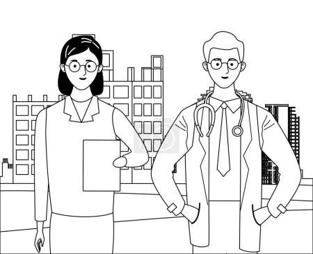 Illustration pour Emploi journée de travail occupation célébration nationale, médecins collègues travailleurs dans la construction de la ville avant voir dessin animé vecteur illustration conception graphique - image libre de droit