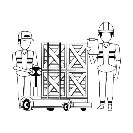 Warehouse workers pushing boxes on handtruck vecto...