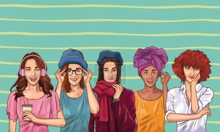Illustration pour Pop art mode et belles femmes modèles dessin animé sur fond vert, illustration vectorielle conception graphique . - image libre de droit