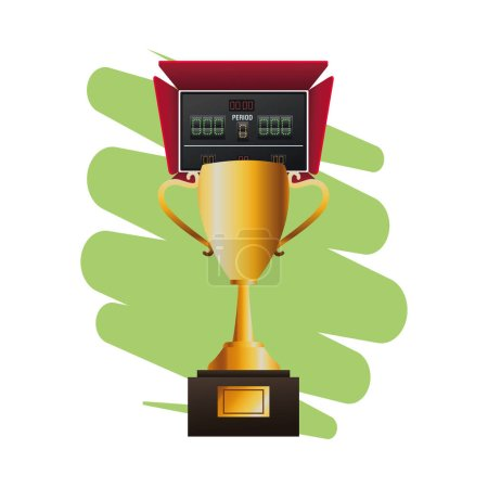 Illustration for Electric scoreboard match with trophy cup vector illustration design - Royalty Free Image