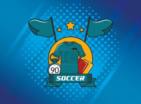 Illustration for Football soccer sport poster with referee shirt vector illustration design - Royalty Free Image
