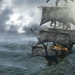 Pirate ship sailing on the sea, 3D render...