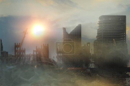 Photo pour Illustration 3D d'une ruine d'une ville. Paysage apocalyptique. concept de coucher de soleil apocalyptique - image libre de droit