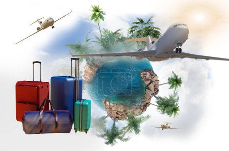 Photo for Travel bags with Luggage as a symbol of travel and tourism concept 3d render - Royalty Free Image