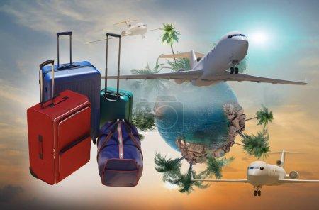 Photo pour Sacs de voyage avec bagages comme un symbole de voyage et de tourisme concept 3d rendu - image libre de droit