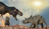 "Постер, картина, фотообои ""Битва за динозавров визуализации 3d"""