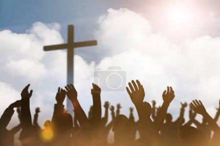 Photo pour Concept de Noël adoration et louange Dieu rendu 3D - image libre de droit