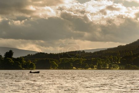 fishing boat on Lake of Menteith within Loch Lomond and Trossachs National Park.