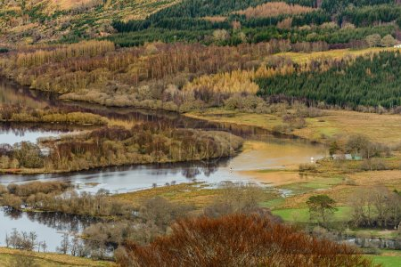 View of the river Dochart and river Lochy where they flow into Loch Tay.