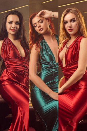 Photo for Collage of three young ladies with bright make-up, in silk dresses and jewelry. They are expressing different facial emotions, smiling, unsmiling. Posing against colorful backgrounds. Close-up - Royalty Free Image