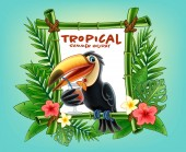 Beach party tropical frame made of exotic leaves and toucan drinking cocktail