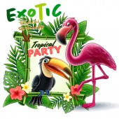tropical frame made of exotic leaves toucan and flamingo