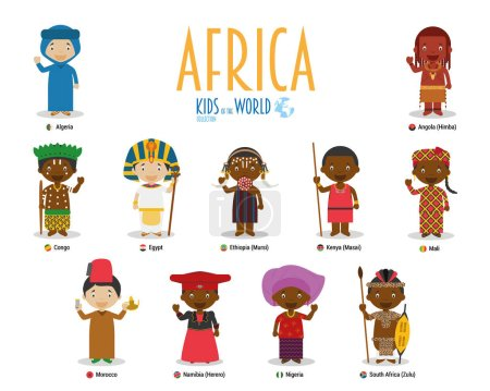 Kids and nationalities of the world vector: Africa...