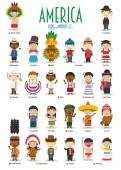 Kids and nationalities of the world vector: America Set of 25 characters dressed in different national costumes