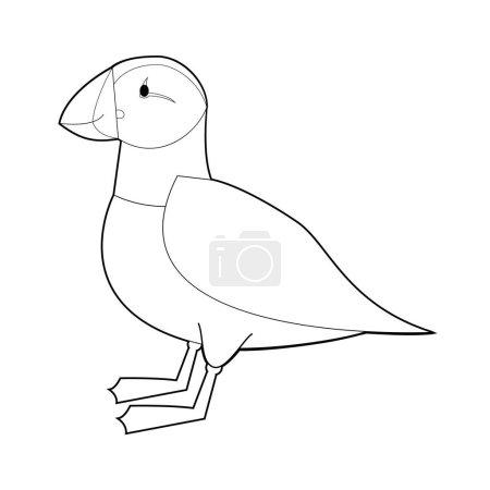 Illustration pour Dessins faciles de coloriage des animaux pour les petits enfants : Macareux - image libre de droit