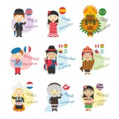 Vector illustration set of cartoon characters saying hello and welcom in 9 languages spoken in America