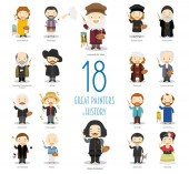 Kids Vector Characters Collection: Set of 18 great painters of History in cartoon style