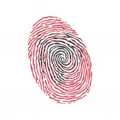Fingerprint vector colored with the national flag of Albania