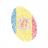 Fingerprint vector colored with the national flag of Andorra