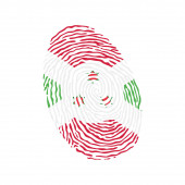 Fingerprint vector colored with the national flag of Burundi
