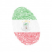 Fingerprint vector colored with the national flag of Equatorial Guinea