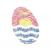 Fingerprint vector colored with the national flag of Kiribati