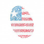 Fingerprint vector colored with the national flag of Liberia