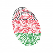 Fingerprint vector colored with the national flag of Malawi