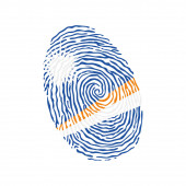 Fingerprint vector colored with the national flag of Marshall Islands