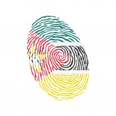 Fingerprint vector colored with the national flag of Mozambique