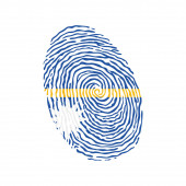 Fingerprint vector colored with the national flag of Nauru