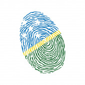 Fingerprint vector colored with the national flag of Solomon Islands