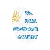 Fingerprint vector colored with the national flag of Uruguay